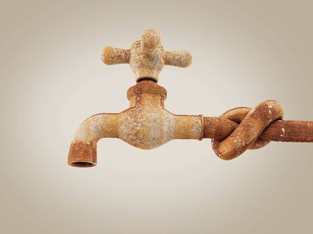 Old and rusty faucet, clipping path included 3d Rendering