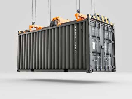 3d Rendering of Container loading with industrial crane. Industry and Transportation concept.