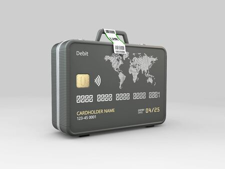 3d Illustration of Travel Bags with credit card.