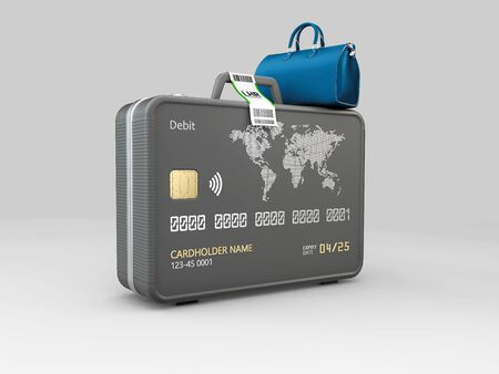 3d Illustration of Travel Bags Colored with credit card. Stock Photo