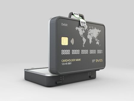 3d Rendering of Opened Suitcase with bank card Stock Photo
