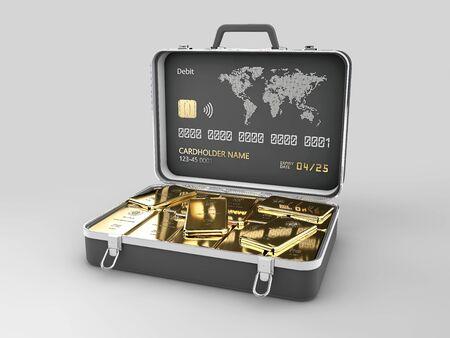 3d rendering of case full of gold bars