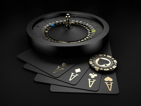 3d Rendering of Black Casino Roulette Wheel with a blue ball and gold chip. isolated black