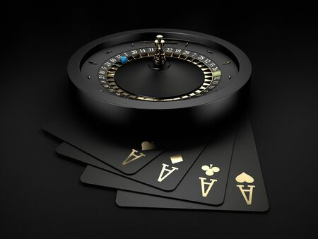 3d Rendering of Black Casino Roulette Wheel with a blue ball and gold play carts Stock Photo - 145923901