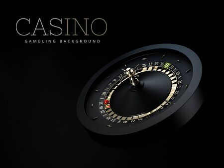 3d Rendering of Black Casino Roulette Wheel with a red ball. isolated black
