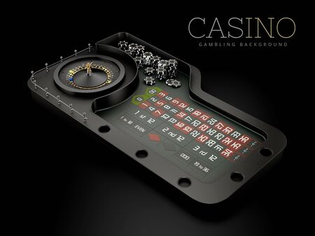 3d Rendering of Black Casino Roulette Wheel on a table