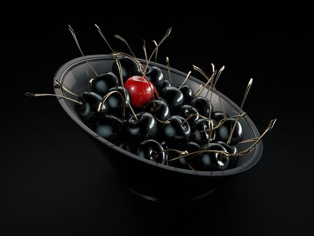 3d Rendering of Closeup of gold and black cherries in a deep plate.