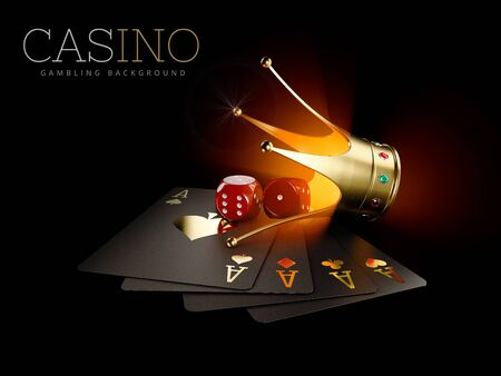 3d Rendering of Play cards with Red dice and gold crown, casino background. Gambling template. Zdjęcie Seryjne
