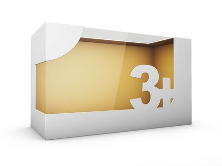 3d Rendering of White Package Box With Window for Toys for tree year and up