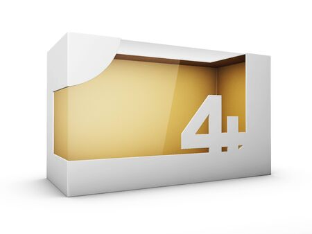 3d Rendering of White Package Box With Window for Toys for four year and up