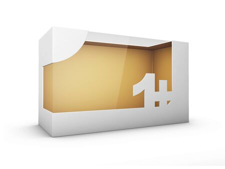 3d Rendering of White Package Box With Window for Toys for one year and up
