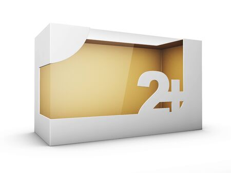 3d Rendering of White Package Box With Window for Toys for two year and up