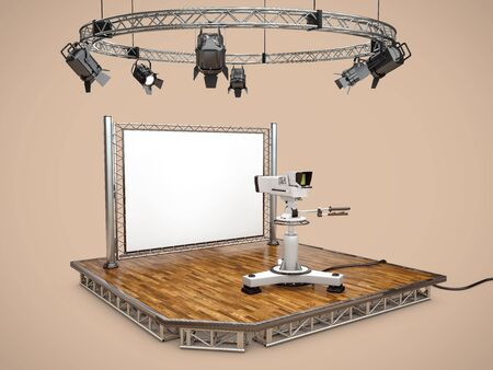 3d Rendering of Camera, design with table and lighting