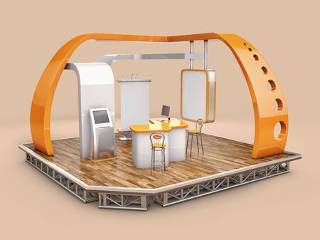 3d Rendering of stand, design with table and chair, info board, roll up. Zdjęcie Seryjne