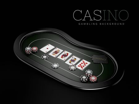 3d Rendering of Poker table with a combination of a straight flush with casino chips, clipping path included Zdjęcie Seryjne
