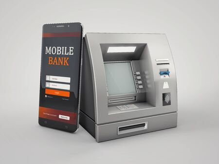 3d Rendering of Mobile online banking and payment concept. clipping path included Zdjęcie Seryjne