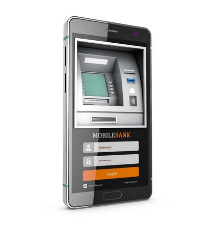 3d Rendering of Mobile online banking and payment concept. Smart phone as ATM.