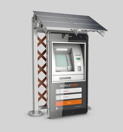 3d Rendering of Mobile online banking and payment concept. Smart phone as ATM with solar panel, clipping path included