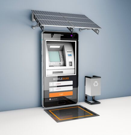 3d Rendering of Mobile online banking and payment concept. Smart phone as ATM