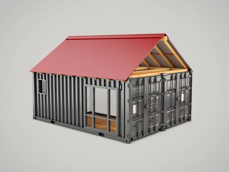 3d rendering of Converted old shipping container into house, isolated gray, clipping path included