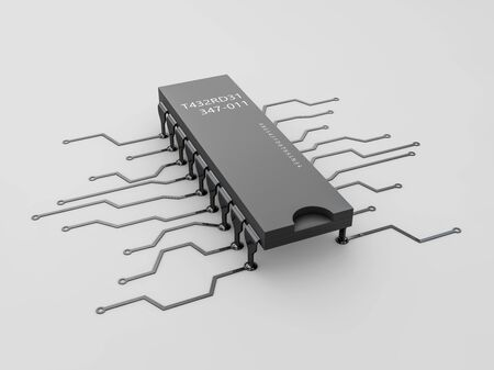 3d Illustration of computer microchip isolated white background