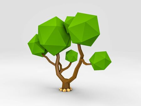 3d Rendering of tree in low poly style 스톡 콘텐츠