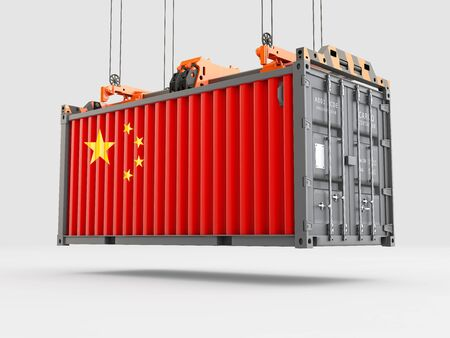 Container with China Flag and Crane Hook. 3D rendering