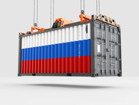 Container with Russia Flag and Crane Hook. 3D rendering