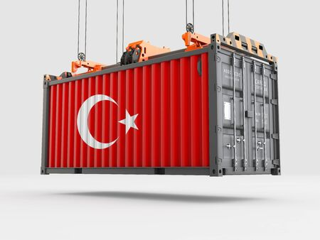 Container with Turkey Flag and Crane Hook. 3D rendering