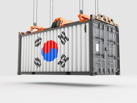 Container with South Korea Flag and Crane Hook. 3D rendering