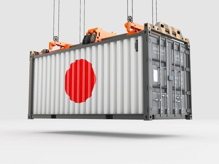 Container with Japan Flag and Crane Hook. 3D rendering Zdjęcie Seryjne