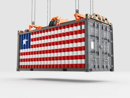 Container with Liberia Flag and Crane Hook. 3D rendering