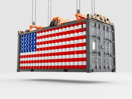 Container with USA Flag and Crane Hook. 3D rendering Zdjęcie Seryjne