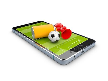 3d Rendering of Mobile soccer. Online ticket sales concept.