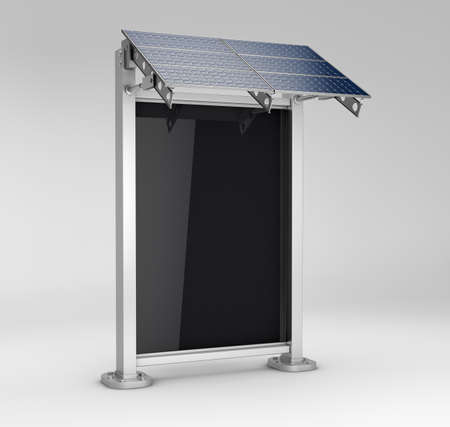 3d Rendering of vertical blank billboard with solar panel