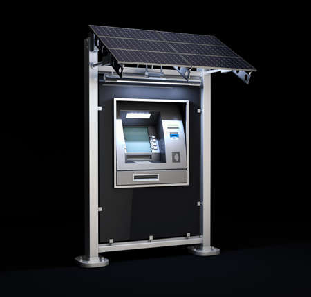 3d Rendering of ATM Bank Cash Machine with solar panel in the night