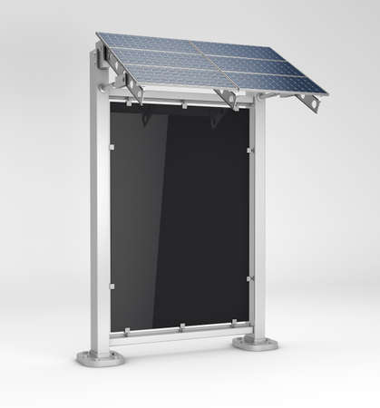 Vertical blank billboard with solar panel, Stockfoto