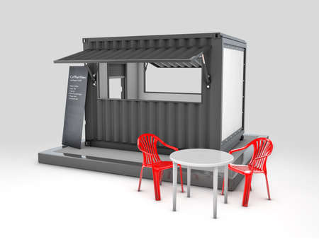 3d Rendering of Converted old shipping container into cafe, clipping path included Zdjęcie Seryjne