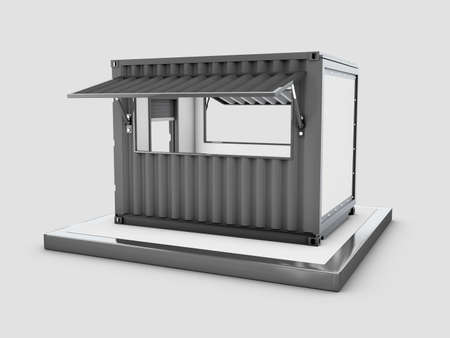 3d Rendering of Converted old shipping container into cafe