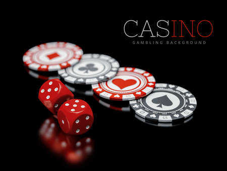 3d illustration of Pocker Chips with dice, Casino Concept isolated on white