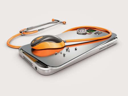 Mobile phone repair, 3D illustration. Broken mobile phone with battery. Repair electronic equipment