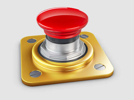 3d illustration of red button,  High resolution.