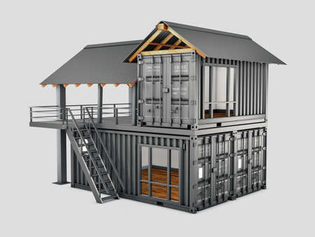 3d Rendering of Converted old shipping container into house, isolated gray, clipping path included Stock Photo