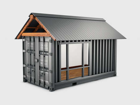 3d Rendering of Converted old shipping container into house, clipping path included Stock Photo