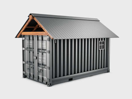 3d Rendering of Converted old shipping container into storage, clipping path included Stock Photo