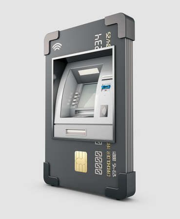 3d Rendering of ATM and credit or debit card. Clipping path included Stock Photo - 156563675