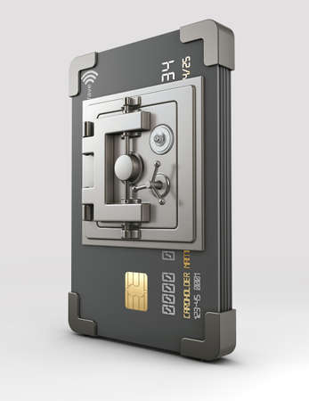 3d Rendering of Credit card with steel safe on gray background