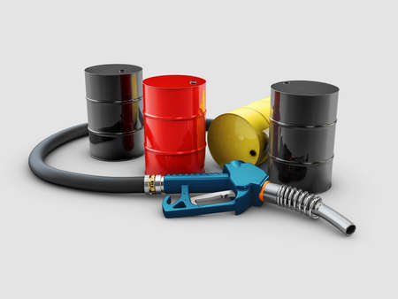 3d Rendering of pump nozzle and oil barrels, clipping path included