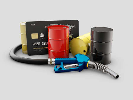 3d Rendering of pump nozzle and oil barrels and credit card, clipping path included