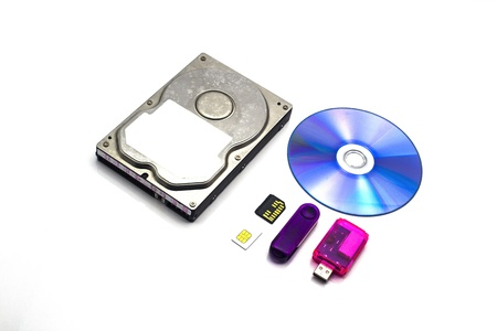 dvd rom: storage data hdd, sd, card, USB, Sim, DVD Rom, on Isolated Stock Photo